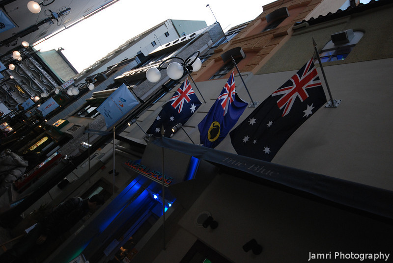 Two Australian and One Western Australian Flags.<br /> Outside of the Blue Billabong in Nanba, Osaka.