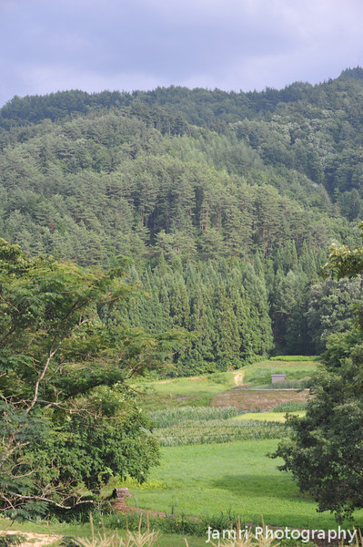 The valley and hills.<br /> From Aburamu no sato (Abram's place) near Hida Furukawa, Gifu Prefecture, Japan.