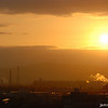 "Golden Sunrise.<br /> Towards Nagaokakyo's industrial area from ""Fune Mansion""."