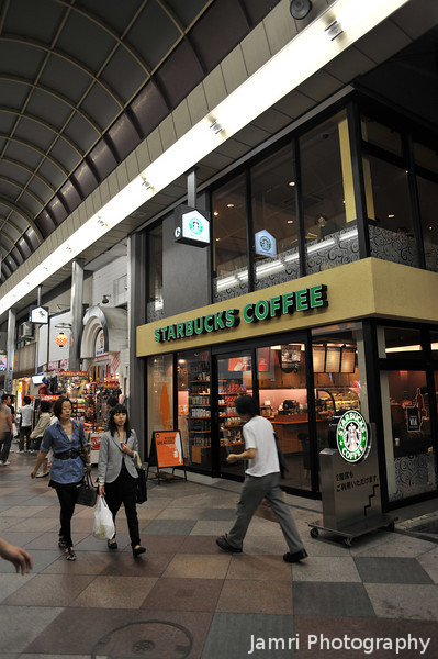 Outside Starbucks.<br /> Now for a little photographic tour of the Shinkyogoku Arcade...