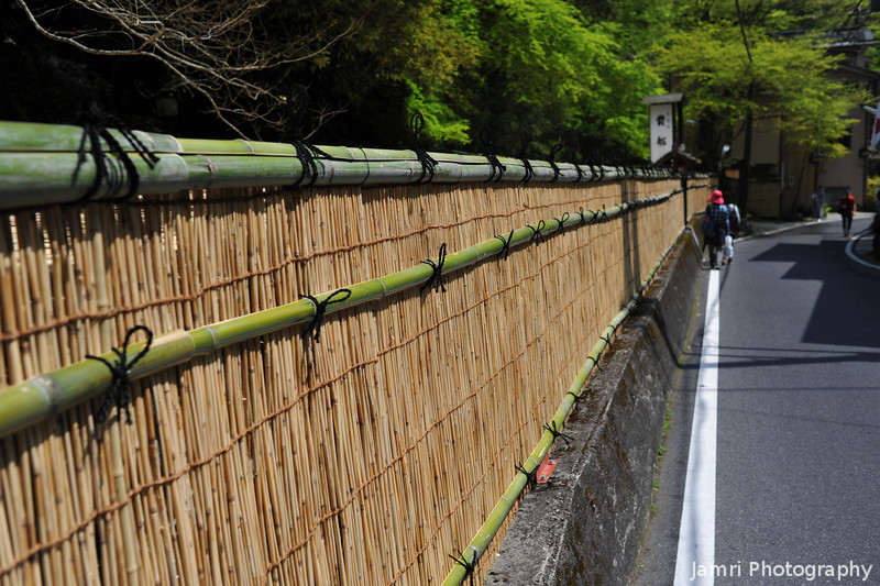 Walking Along the Wall.<br /> A Bamboo wall of a traditional restaurant.<br /> Note: Circular Polarising Filter Used.