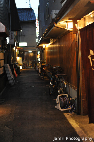 Another Little Alleyway.<br /> Complete with Garden Hose.<br /> Off Pontocho, Kyoto.