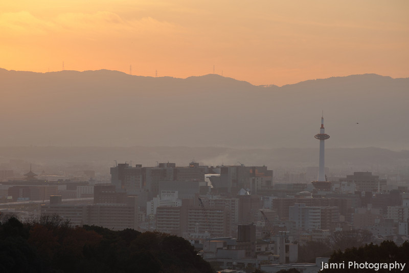 Kyoto Tower, Kyoto Station and Toji Temple at Sunset.<br /> From Kiyomizu-dera (Kiyomizu Temple).