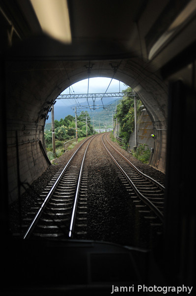 Going through a Tunnel.<br /> Between Omi-Imazu and Omi-Maiko.