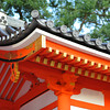 A Corner of the Shrine Gate Roof.<br /> At Yasaka-jinja, Gion, Kyoto, Japan.
