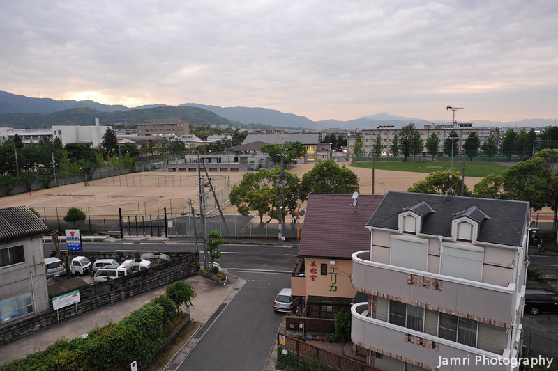 """The View Over the High School Playing Fields.<br /> From """"Fune Mansion"""" or """"The Ship"""" an apartment block that looks like a Ship."""