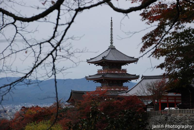 A closer shot of the Pagoda.<br /> At Kiyomizu-dera (Kiyomizu temple), Higashiyama, Kyoto.