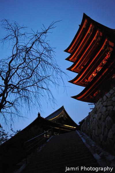 Five Storey Pagoda and Temple.<br /> On Miyajima Island.