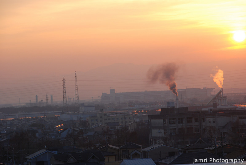 """Industrial Sunrise.<br /> Taken from on top of """"Fune Mansion"""" (an apartment block which looks like a ship, Fune is ship in Japanese). Towards the Industrial Area."""