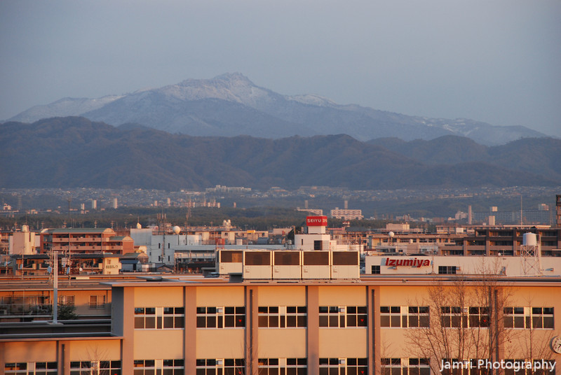 """Mt Atago with light Snow.<br /> As seen from """"Fune Mansion""""."""