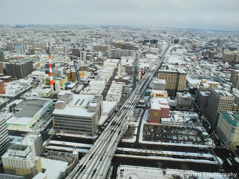 Looking East Along the JR Lines.<br /> From the JR Sapporo Building.