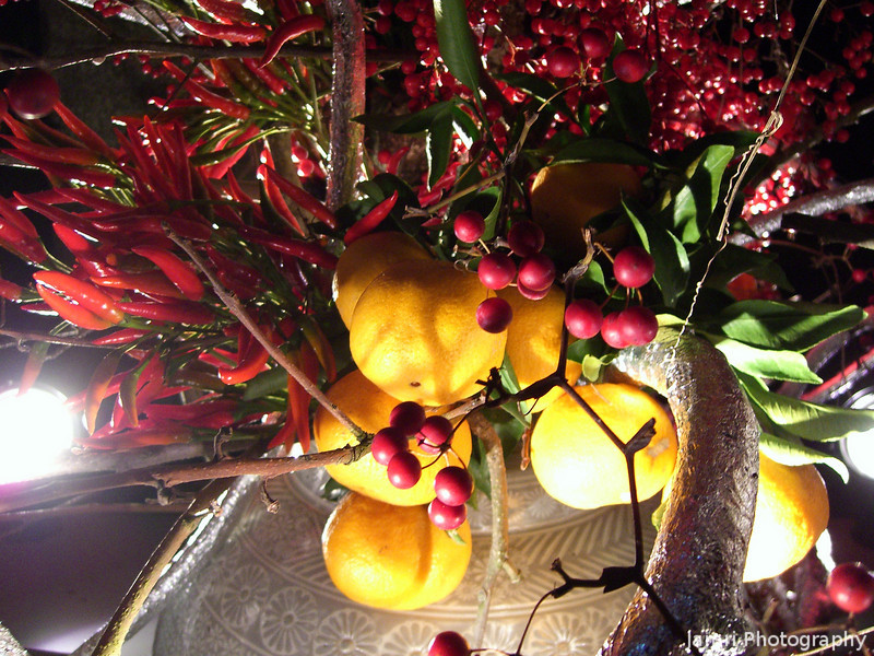 Fruit and Chillies Arrangement.<br /> One of the Ikebana creations on display at the Arashiyama Hanatouro.