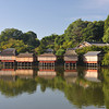 Reflections of the dining rooms.<br /> At Nagaoka Tenmangu Shrine Park in Nagaokakyo, Kyoto-fu, Japan.