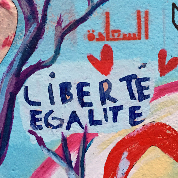 The Love Wall, near the site of the November 2015 terrorist attacks in Paris.