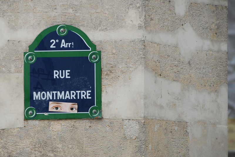 Watching Eyes, Rue Montmartre Sign, Paris, 2013.