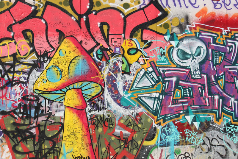 Psychedelic mushroom, Berlin Wall, Germany