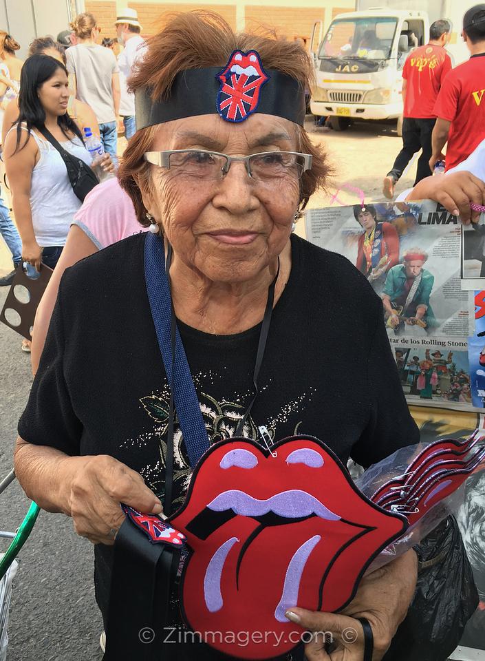 Peruvian Woman selling Stones souvenirs, Lima Peru