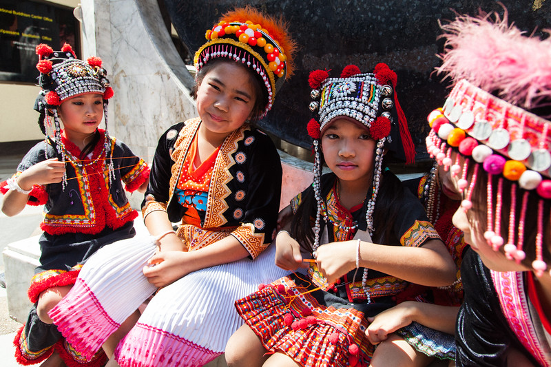 Children in Traditional Dress, Doi Suthep, Chaing Mai, Thailand