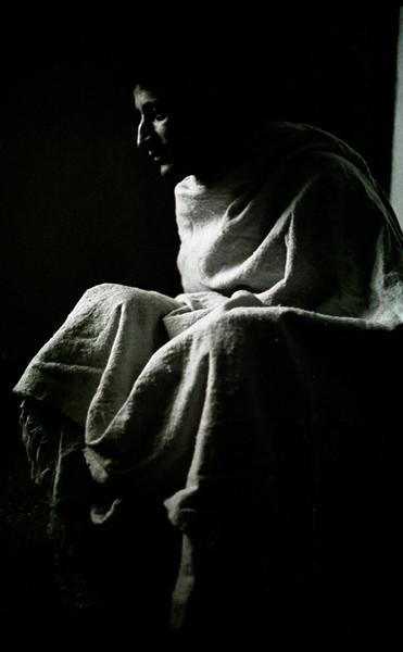 A traditional Algerian Bernouse modelled here for you by Mnsr Hocine Ouzerdine in pensive mood in Tizi-Hibel Algeria