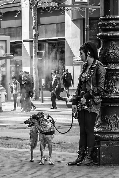 Girl and Her Dog, Market Street