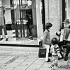 Accordion player and curious kids. Munich.