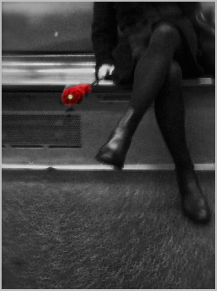 Lady in black with red umbrella<br /> <br /> iPhone photo