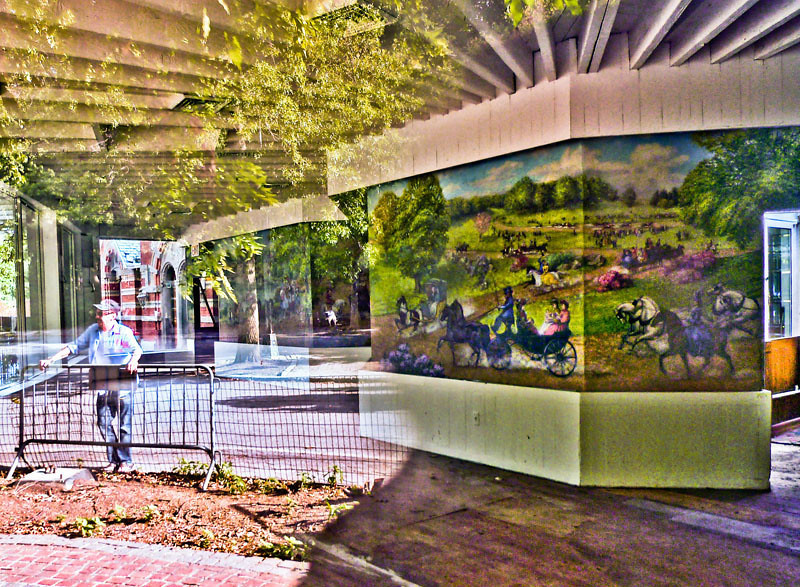 Reflections of Tavern on the Green's past - The salad days of gainful employment still haunt many<br /> <br /> As if through a glass darkly, Tavern on the Green's vivid, mural-painted walls seem to defy evidence of the place's ongoing demolition as a window reflects longtime restaurant captain, J-P Richard, mulling over the wreckage.