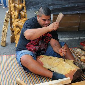 Carver working at Aloha Stadium Flea Market