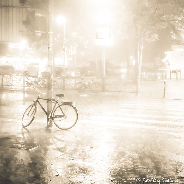 Abandoned bike in the storm