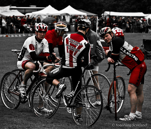 A gaggle of cyclists