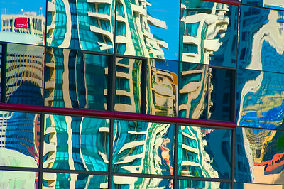 Reflections of buildings on the colorful Embarcadero waterfront in San Diego.