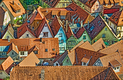 Bad Wimpfen, Germany.  Colorful tile roofs of old town.