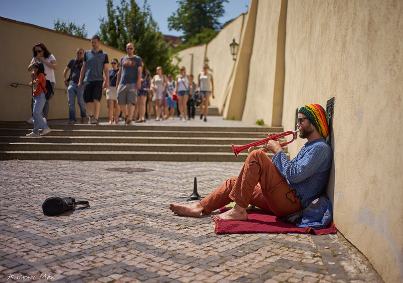 """Busker at Prague Castle"""