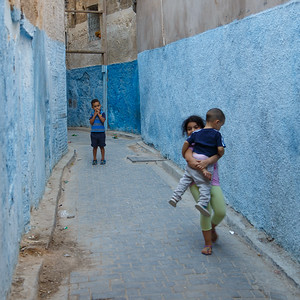 Kids in a blue street