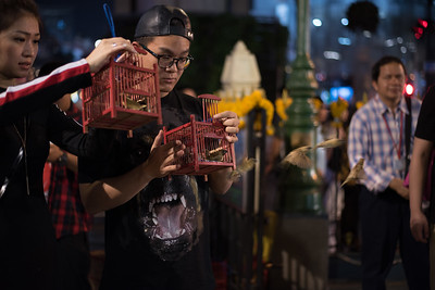 Devotees release birds as offerings at the Erawan Shrine in Bangkok, Thailand. December 10, 2017. Photo by Lorelei Trammell