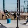 Skate boarder barrel jumping