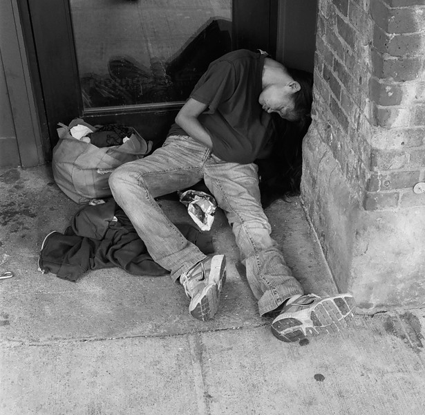 Sleeping in a doorway