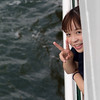 Friendly girl on the ferry to Miyajima