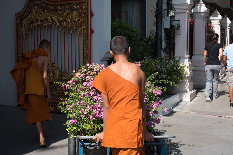 Young monks carting flowers in Bangkok, Thailand. December 19, 2017. Photo by Lorelei Trammell.