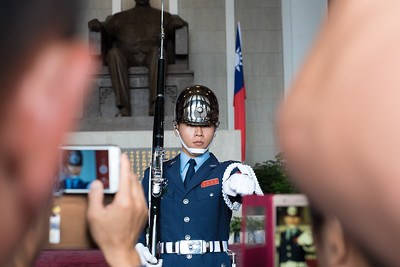 A Sun Yat-Sen Memorial guard in Taipei, Taiwan. November 9, 2017. Photo by Lorelei Trammell.