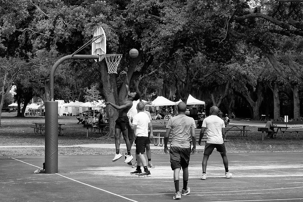 A Friendly Basketball Game at the Park