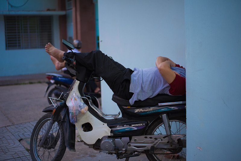 Napping in Ho Chi Minh City, Vietnam. December 27, 2017. Photo by Lorelei Trammell