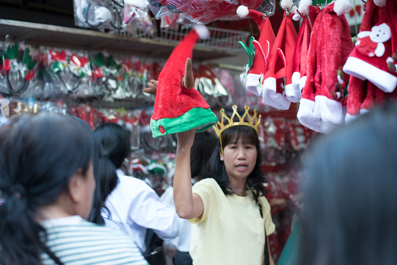 Holiday decoration seller in Chinatown, Bangkok, Thailand. December 17, 2017. Photo by Lorelei Trammell