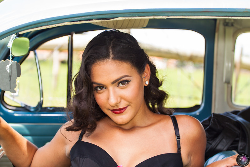 Model: Alex-w<br /> MUA: MIchelle Kramer<br /> Car: 1962 VW Bug provided by Eddy Sotelo