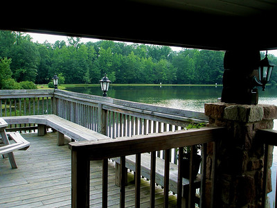 The view from the deck at Blue Mountain Lakes Tavern just after we arrived