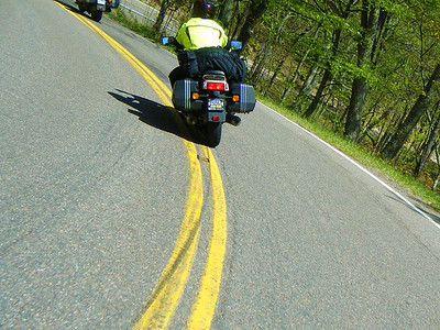 Chris cuts it close to the double yellow lines.