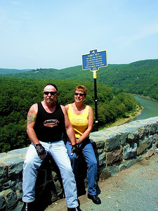 Joe and Laura, two fellow riders who stopped at Hawk's Nest Overlook to check out the scenery.