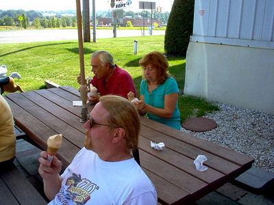 Barry, Ron and June are concentrating on their ice cream and letting the world just drift by.