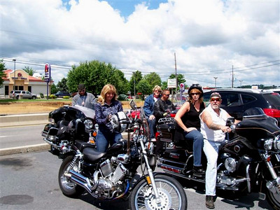 Suiting up and getting ready to ride Jeff - his box of Harley Parts Bags stowed safely away - Lisa, Junie, Dale, Joni and Chopper Joe, Allentown's next city councilman.
