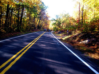 Riding north on Route 44 takes you into the mountains with its deep glade-like shadows and autumn colors.